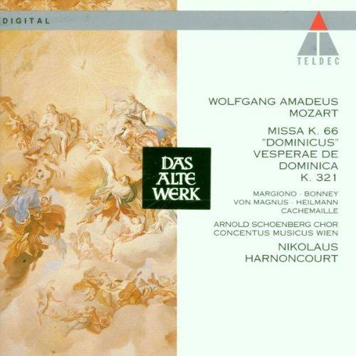 Mozart , Wolfgang Amadeus - Missa Solemnis, KV. 66 'Dominicus' / Vesperae De Dominica, KV 321 (Margiono, Bonney, Magnus, Heilmann, Cachemaille, Harnoncourt)