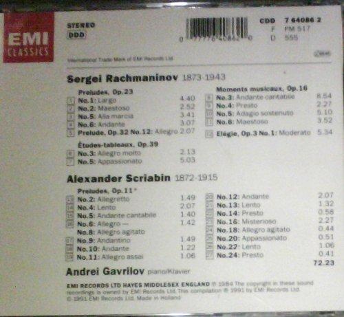 Gavrilov , Andrei - Rachmaninov: 5 Preludes / 2 Etudes - Tableaux / 4 Moments Musicaux / Elegie - Scriabin: 16 Preludes From Op. 11