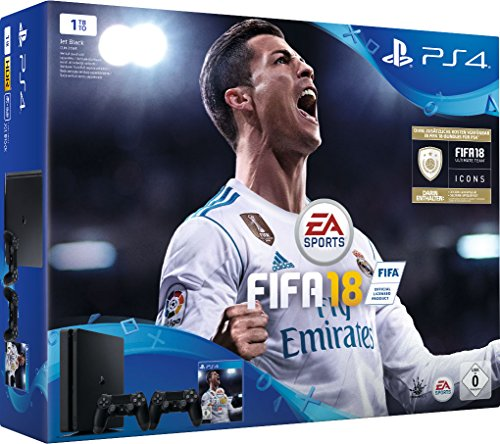 - PlayStation 4 - Konsole (1TB, schwarz, slim) inkl. FIFA 18 + 2 DualShock Controller