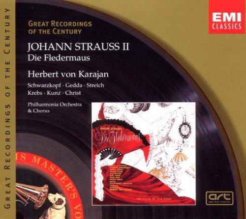 Strauss , Johann - Die Fledermaus (Karajan, Schwarzkopf, Gedda, Streich, Krebs, Kunz, Christ)
